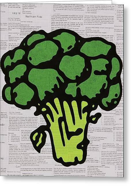Pop Mixed Media Greeting Cards - Broccoli Greeting Card by Jen Gabriele