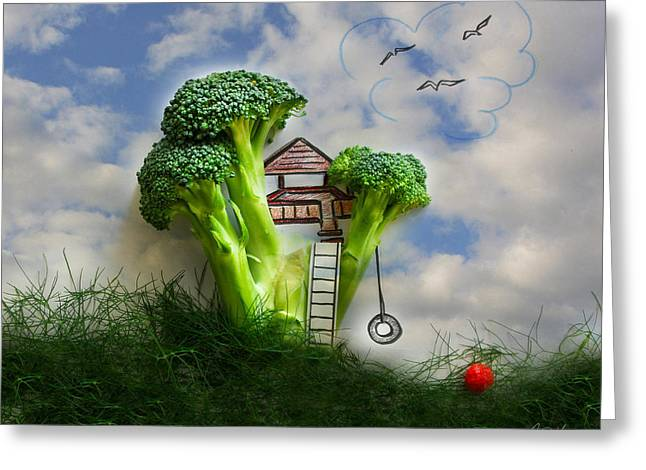 Broccoli Treehouse Greeting Card by Diana Haronis
