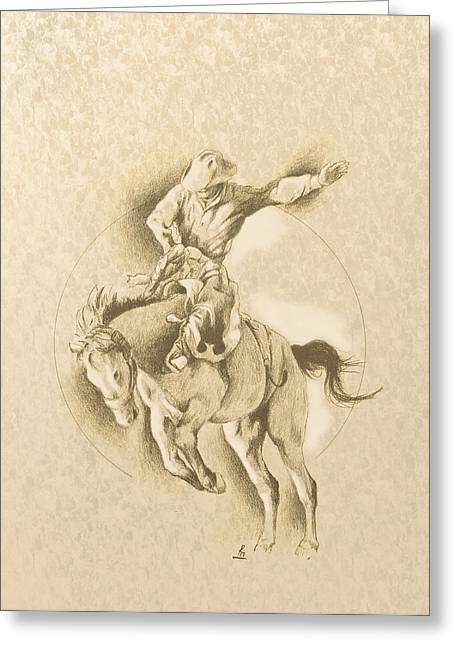 Bull Rider Greeting Cards - Brodacious Greeting Card by Robert Martinez