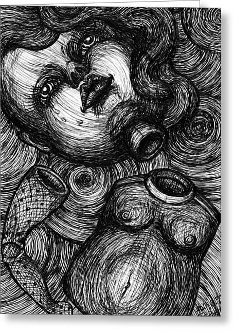 Analog Drawings Greeting Cards - Broken Doll Greeting Card by Akiko Kobayashi