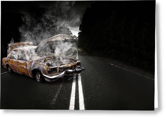 Overheating Greeting Cards - Broken Down Vehicle Greeting Card by Ryan Jorgensen