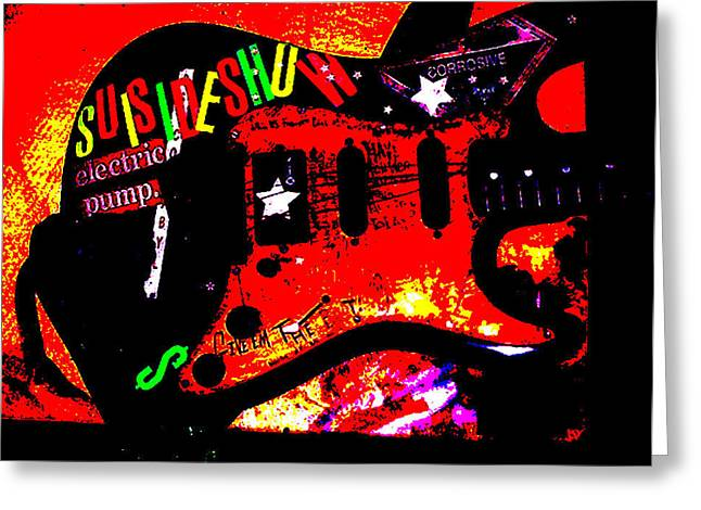 Rock Roll Greeting Cards - Broken Epi Greeting Card by Curt Curt