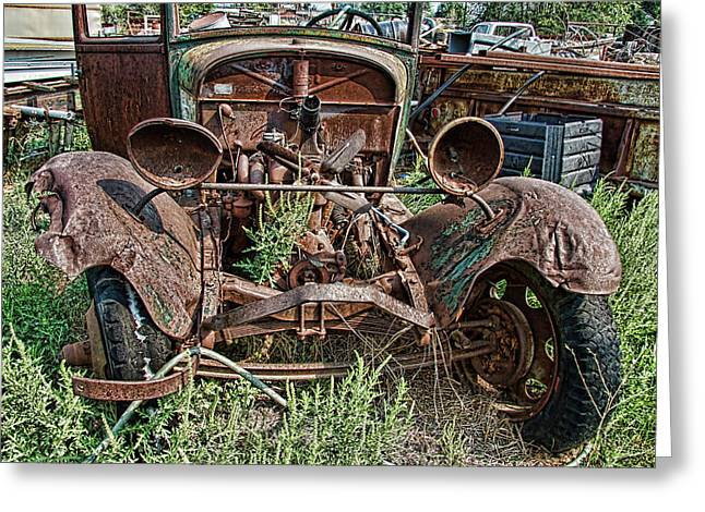 Rusted Cars Greeting Cards - Broken Headlights Greeting Card by Nick Gray