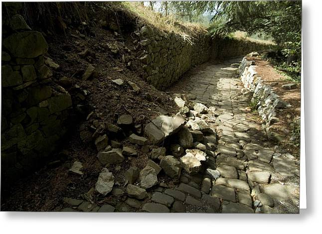 Chianti Greeting Cards - Broken Stone Wall Cascades Stones Greeting Card by Todd Gipstein