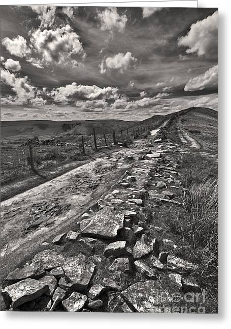 Mam Tor Greeting Cards - Broken Wall On The Ridge Greeting Card by Darren Burroughs