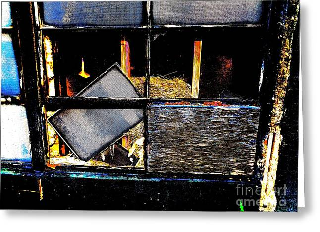 Broken Windows Greeting Cards - Broken Window with Nest Greeting Card by Chuck Taylor
