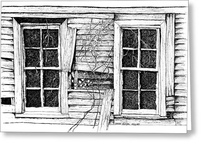 Broken Windows And Vines Greeting Card by Dawn Boyer