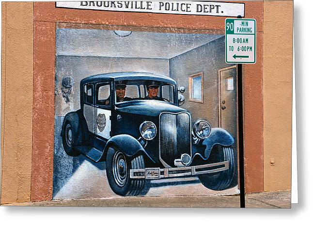 Brooksville Police Dept Mural Greeting Card by David Lee Thompson