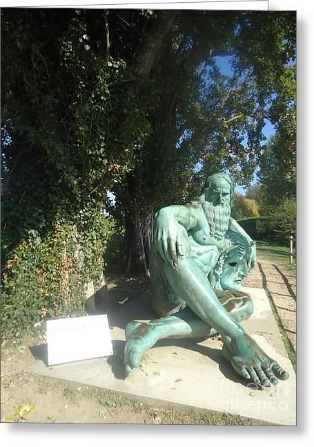Bronce Statue Of Leonardo Da Vinci Greeting Card by Helena Wierzbicki