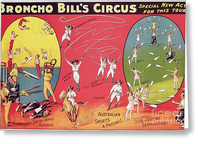 Bronco Bills Circus Greeting Card by English School