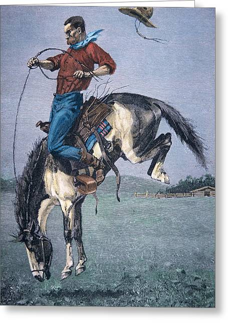 Bronco Buster Greeting Card by Frederic Remington