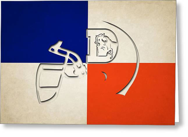 Broncos Greeting Cards - Broncos Helmet Art Greeting Card by Joe Hamilton