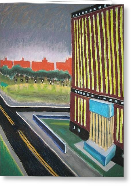 Cubist Pastels Greeting Cards - Bronx courthouse Greeting Card by Craig Barrack
