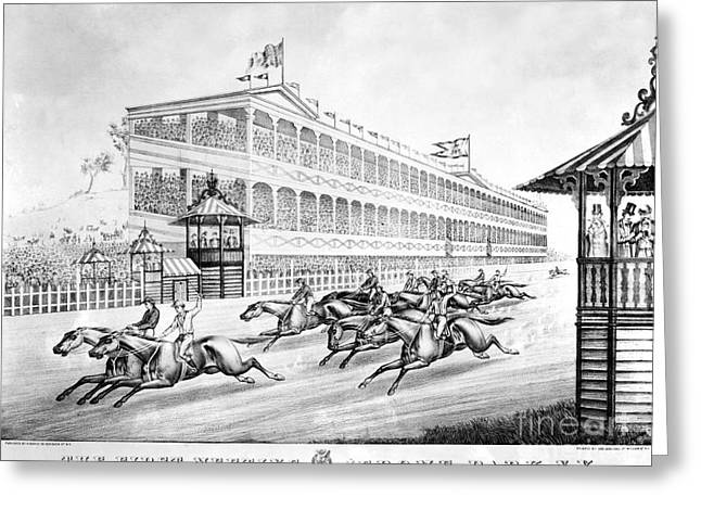 1866 Greeting Cards - Bronx: Horse Race, 1866 Greeting Card by Granger