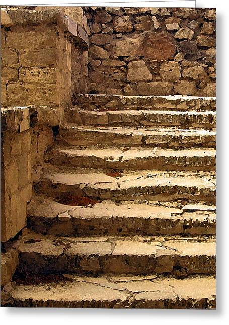 Stepping Stones Greeting Cards - Bronze Age Stairs Greeting Card by Jean Hall