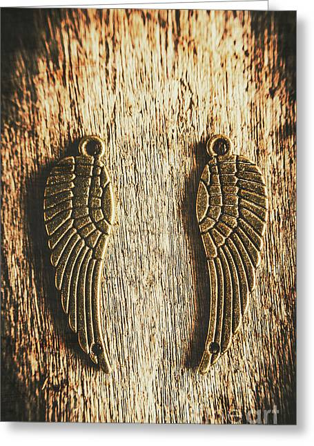Bronze Angel Wings Greeting Card by Jorgo Photography - Wall Art Gallery