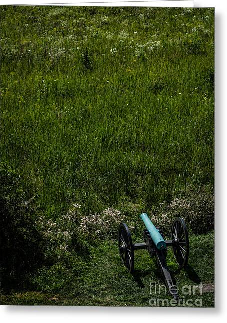 Civil War Battle Site Greeting Cards - Bronze Civil War Era Cannon in Gettysburg Greeting Card by David March