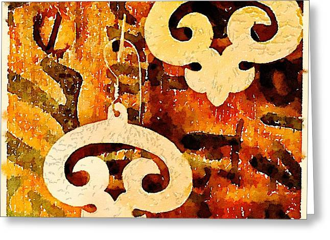 Rustic Jewelry Greeting Cards - Bronze earrings painted in Waterlogue Greeting Card by Evelyn Taylor Designs