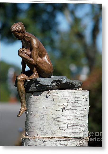 Person Greeting Cards - Bronze Female Statue Greeting Card by Joan Kaplan