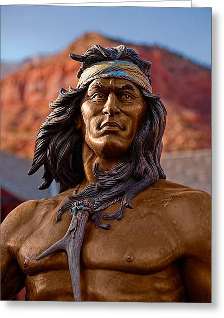 Native American Sculptures Photographs Greeting Cards - Bronze Native Greeting Card by Christopher Holmes