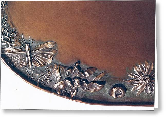 Wildflowers Reliefs Greeting Cards - Bronze Tray Detail with Locust Greeting Card by Dawn Senior-Trask