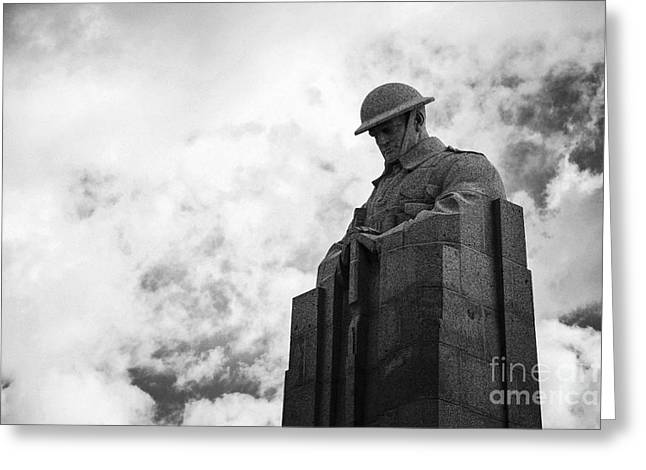 Brooding Soldier St Julien War Memorial Ww1 Canadian Ypres Flanders Belgium Europe Black And White Greeting Card by Jon Boyes