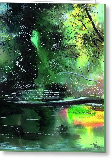 Brook Greeting Card by Anil Nene