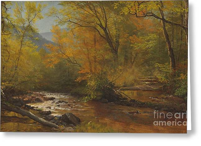 Season Paintings Greeting Cards - Brook in woods Greeting Card by Albert Bierstadt