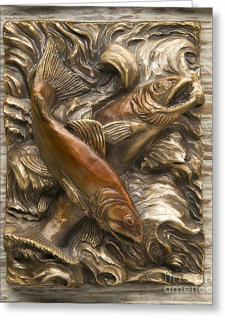 Water Reliefs Greeting Cards - Brook Trout - Bronze Relief Greeting Card by Dawn Senior-Trask