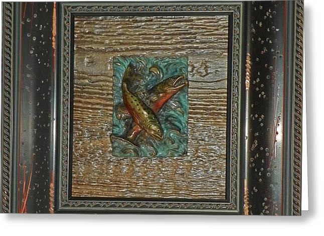 Bronze Reliefs Greeting Cards - Brook Trout - Bronze Relief Framed Greeting Card by Dawn Senior-Trask