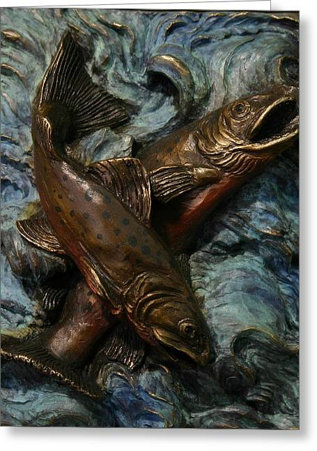 Rocky Mountain Reliefs Greeting Cards - Brook Trout Greeting Card by Dawn Senior-Trask