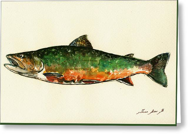 Brook Trout Greeting Card by Juan  Bosco