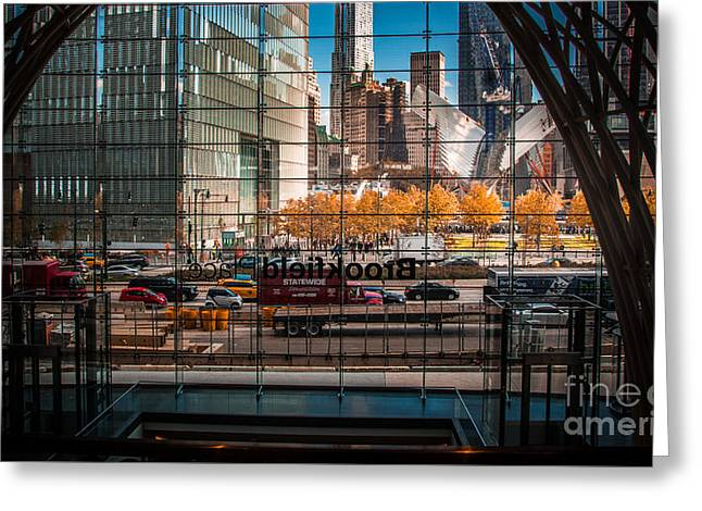 Occasion Greeting Cards - Brookfield Place view to 9/11 Memorial Greeting Card by  ILONA ANITA TIGGES - GOETZE  ART and Photography