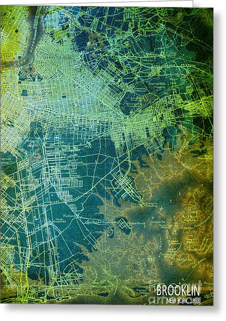 print Mixed Media Greeting Cards - Brooklin Map Art Year 1898 Greeting Card by Pablo Franchi