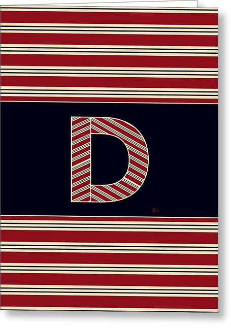 Bosox Greeting Cards - BROOKLINER BOSTON 1920s MONOGRAM alphabet letter initial  D Greeting Card by Cecely Bloom