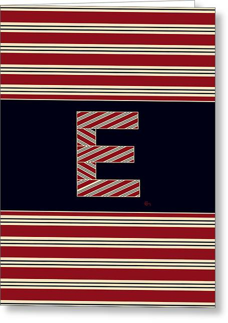 Bosox Greeting Cards - BROOKLINER BOSTON 1920s MONOGRAM alphabet letter initial  E Greeting Card by Cecely Bloom