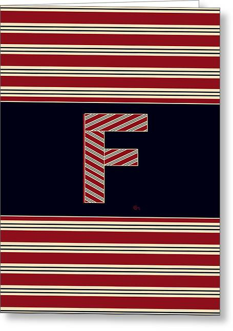 Bosox Greeting Cards - BROOKLINER BOSTON 1920s MONOGRAM alphabet letter initial  F Greeting Card by Cecely Bloom