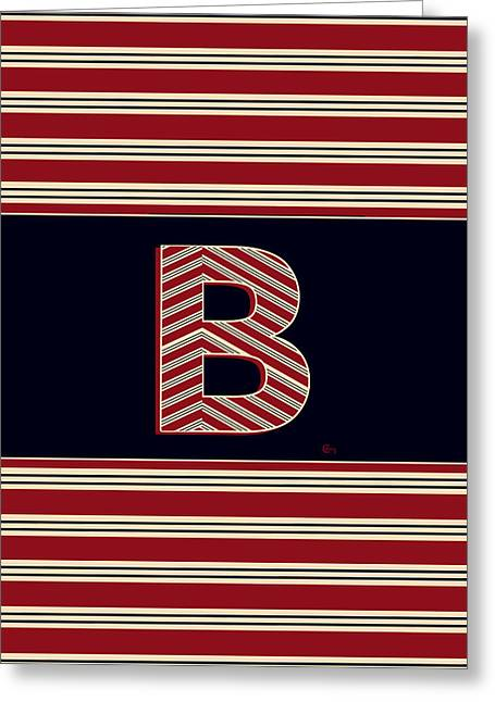 Bosox Greeting Cards - BROOKLINER BOSTON 1920s MONOGRAM initial  B Greeting Card by Cecely Bloom