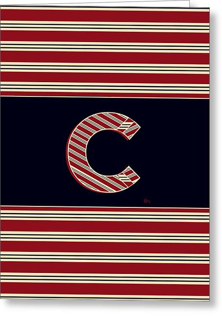 Bosox Greeting Cards - BROOKLINER BOSTON 1920s MONOGRAM initial  C Greeting Card by Cecely Bloom
