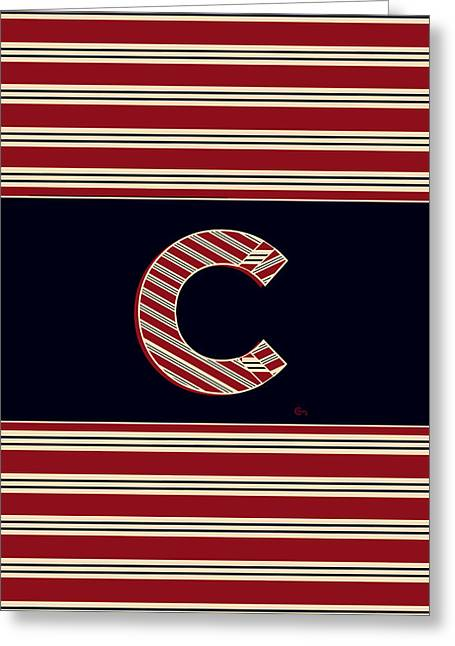 Boston Red Sox Greeting Cards - BROOKLINER BOSTON 1920s MONOGRAM initial  C Greeting Card by Cecely Bloom