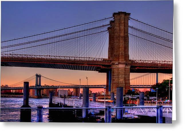 Brooklyn Bridge Park Greeting Cards - Brooklyn and Manhattan Bridge Sunset Greeting Card by Joann Vitali