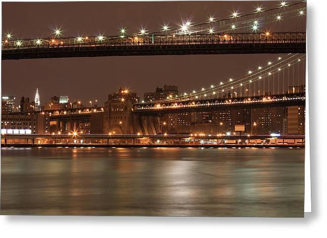 Myspace Greeting Cards - Brooklyn And  Manhattan Bridges At Night Greeting Card by Boris REYT