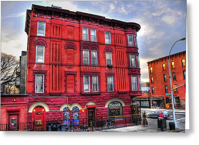 Red Buildings Greeting Cards - Brooklyn Bohemia Greeting Card by Randy Aveille