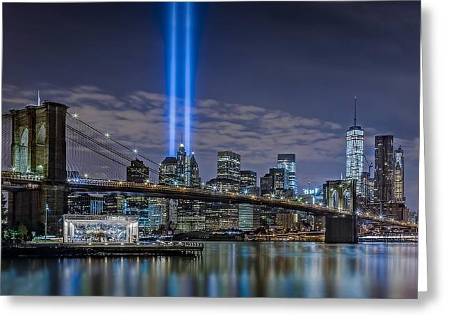 September 11 Wtc Greeting Cards - Brooklyn Bridge 911 Tribute Greeting Card by Susan Candelario