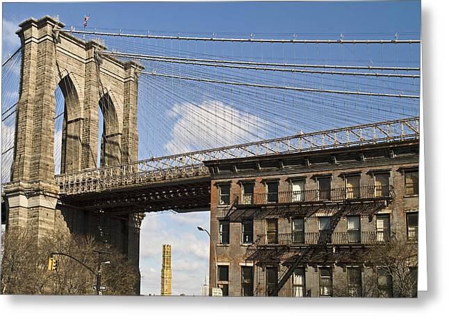 Andrew Kazmierski Greeting Cards - Brooklyn Bridge and Brownstone Greeting Card by Andrew Kazmierski