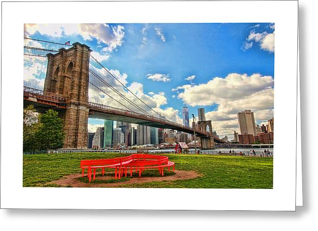 River View Greeting Cards - Brooklyn Bridge and the Lower Manhattan Financial District 3 Greeting Card by Allen Beatty