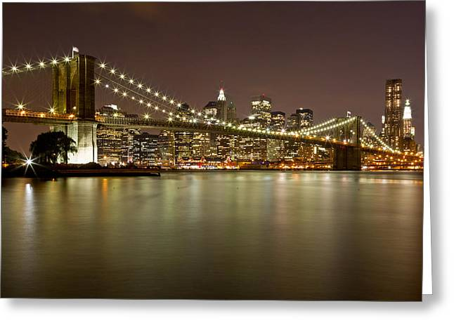 Blackrussianstudio Greeting Cards - Brooklyn Bridge at Night 10 Greeting Card by Val Black Russian Tourchin