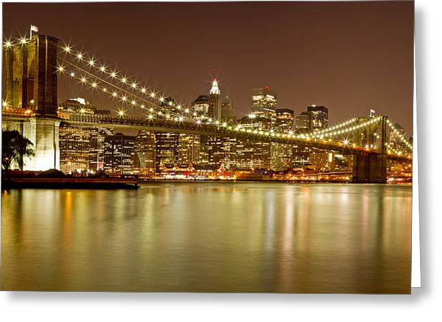 Black Russian Greeting Cards - Brooklyn Bridge at Night Panorama 10 Greeting Card by Val Black Russian Tourchin