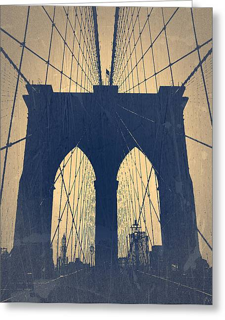 Beautiful Cities Greeting Cards - Brooklyn Bridge Blue Greeting Card by Naxart Studio