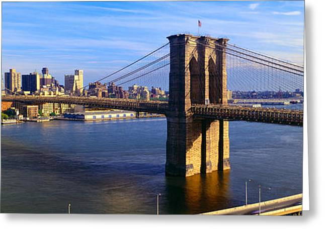 Mid-span Greeting Cards - Brooklyn Bridge, Brooklyn View, New York Greeting Card by Panoramic Images